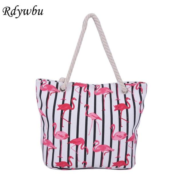 c2c4dbcd8 Rdywbu Flamingo Impressão Listrado Bolsa de Ombro Da Lona Mulheres Bolsa De  Viagem Bolsa Saco de