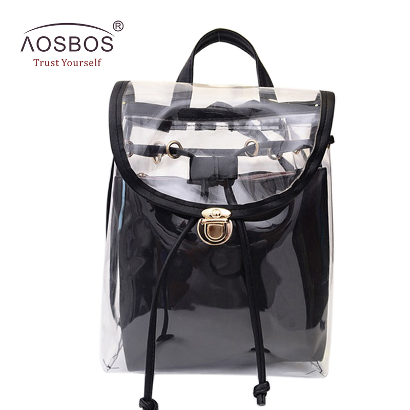 New Arrival Women Transparent Backpacks High Quality Hasp PVC Preppy School Bags for Teenage Girls Casual Rucksack Mochila