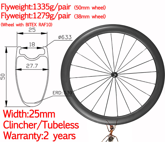 carbon rim 50mm clincher 700C 25mm carbon road bike rim high TG new trend rim