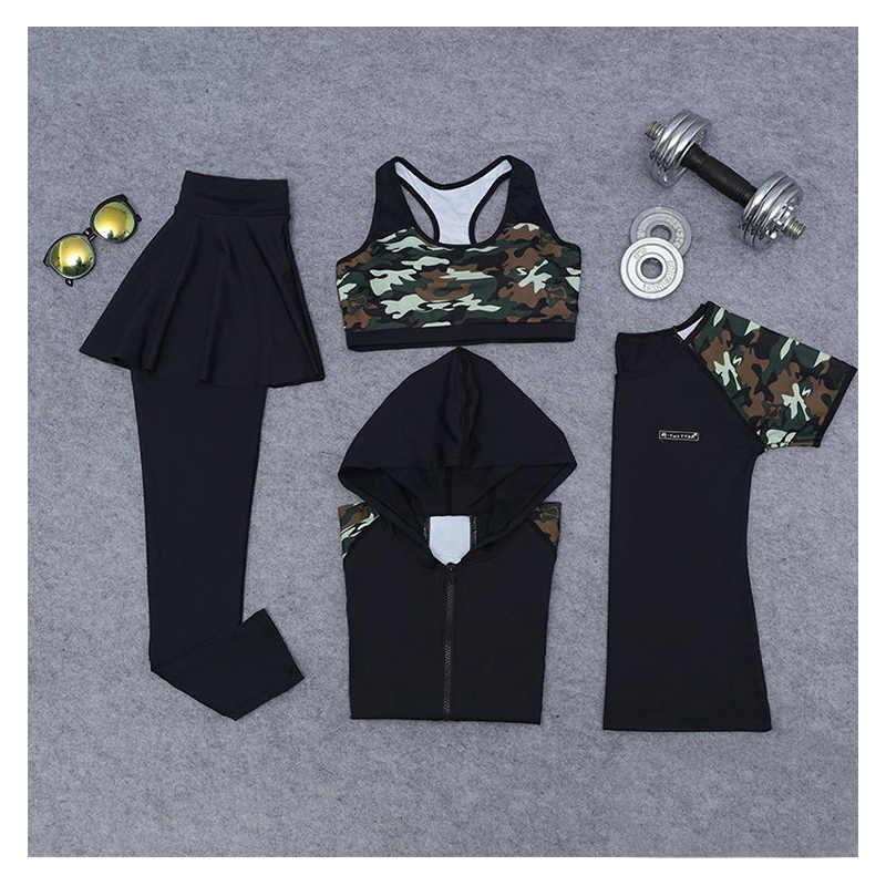 Женский набор для йоги, одежда, юбка, леггинсы + бюстгальтеры + спортивная рубашка + куртка, фитнес, бег, дышащий, битва, фатиги, спортивный костюм