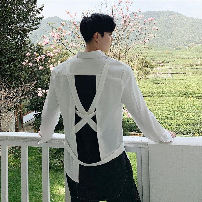 Men Split Casual Long Sleeve Shirt Male Women Streetwear Shirt Stage Dress Shirts