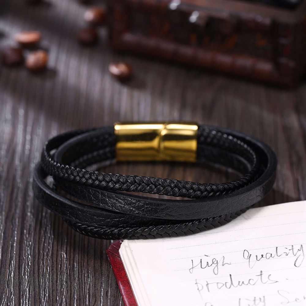 Czarne męskie skórzane bransoletki i Bangles bransoletki ze stali nierdzewnej w oplocie ze stali nierdzewnej liny złoty kolor magnetyczne zapięcie biżuteria męska (BA102435)