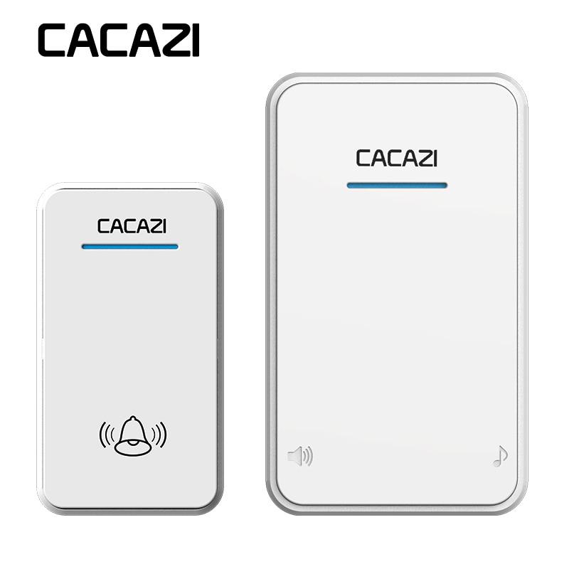 CACAZI Blanco/negro largo alcance inalámbrico timbre DC batería operado 300 m puerta campana remota 48 Anillos 6 volumen de timbre