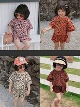 Kids Clothing Girls Summer 2019 New Cartoon Leopard Print Loose Bottoming Shirt Casual Shorts Two-Pieces Fashion Suit