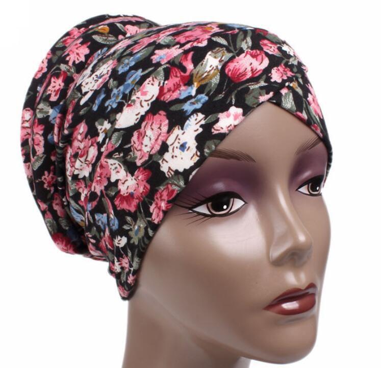 turban skullies floral chemo fashion bonnet chemo cancer cross hat Cap slip on bonnet 4 Colors  free ship skullies