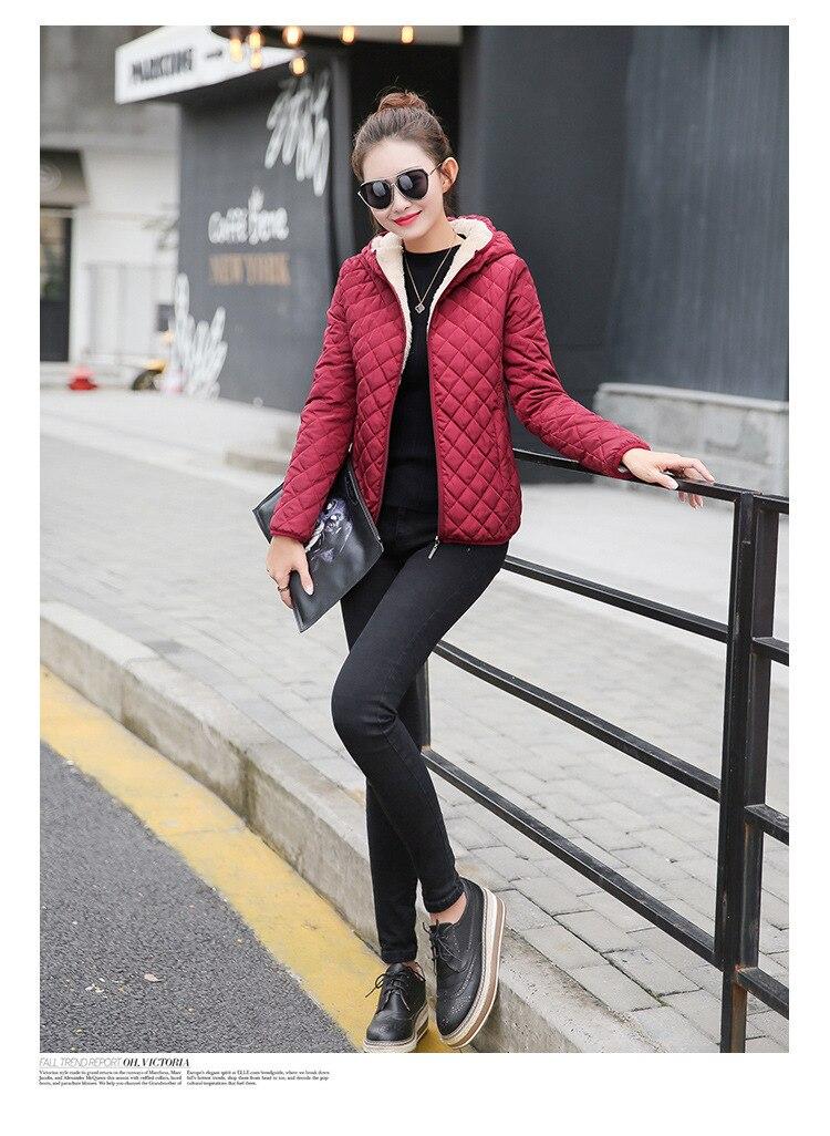 Autumn 2019 New Parkas basic jackets Female Women Winter plus velvet lamb hooded Coats Cotton Winter Jacket Womens Outwear coat 15