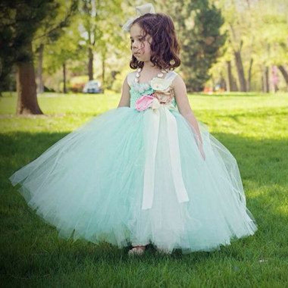 купить Mint Flower Girls Tutu Dress for Wedding Satin Straps Kids Baby Birthday Party Dresses Flower Summer Spring Dress TS053 дешево