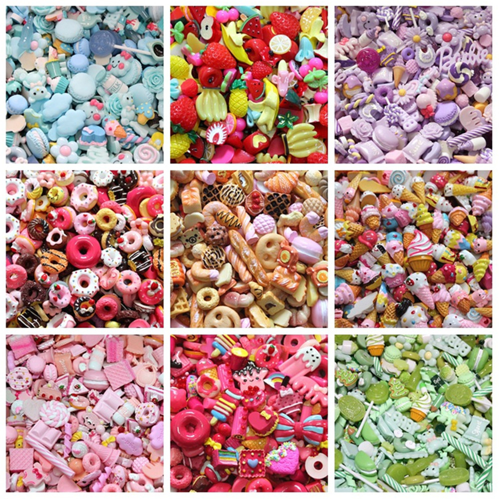 10Pcs Filler For Slime Addition Phone Case Decoration Miniature Resin Cake Fruits Candy Chocolate DIY Lizun Slime Accessories