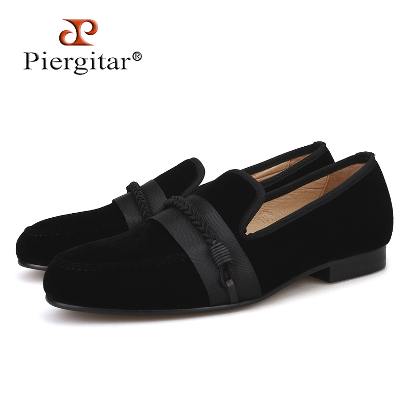 Piergitar 2018 new men velvet shoes with handmade weaving rope Party and wedding men dress shoes men slipper loafers male flats piergitar new men velvet shoes with bowknot red or black color men s flats men loafers for free shipping