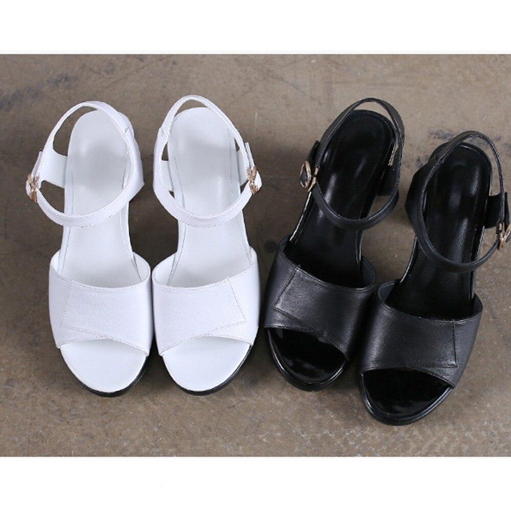 b550922bbcfc6 Bracelet Cuir Femme 18 Blanc D été Noir Toe Sandales Vache Haute Naturel  white En Boucle Chaussures Pic Black Gladiateur Femmes Talon Solide Pour  Peep ...