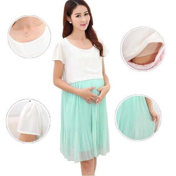 bb3a5e2941c Green Pink Maternity Breastfeeding Dress for Pregnant Women Summer Dresses  Postpregnancy Breast Feeding Dress Chiffon Wholesale