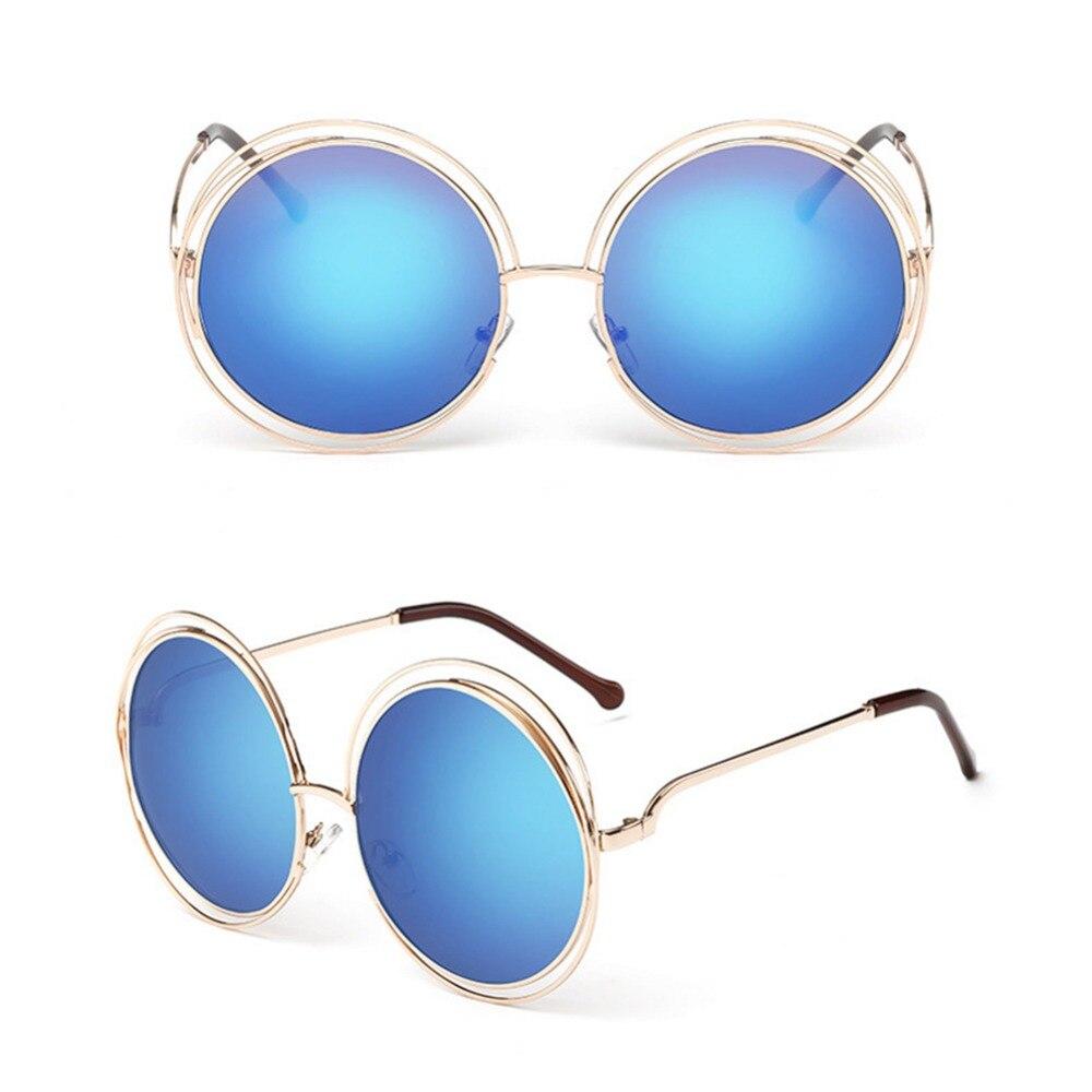Rodada do vintage Tamanho Grande Oversized Espelho Lente Azul Óculos De Sol  Senhora Legal Retro UV400 Óculos de Sol Das Mulheres do Sexo Feminino   239901 em ... 741f46d01e