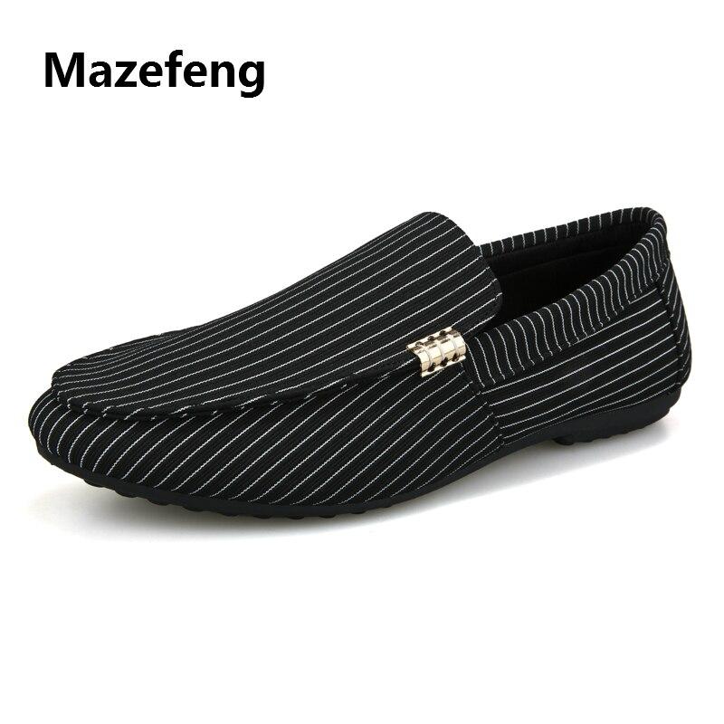 Letnie męskie obuwie męskie mokasyny prosta w paski męskie płaskie buty Slip-on oddychające światło Mazefeng 2020 wiosna jesień 48