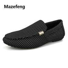 Mazefeng 2018 New Fashion Summer Men Casual Shoes Loafers Simple Stripe Male Flats Slip-on Breathable Light
