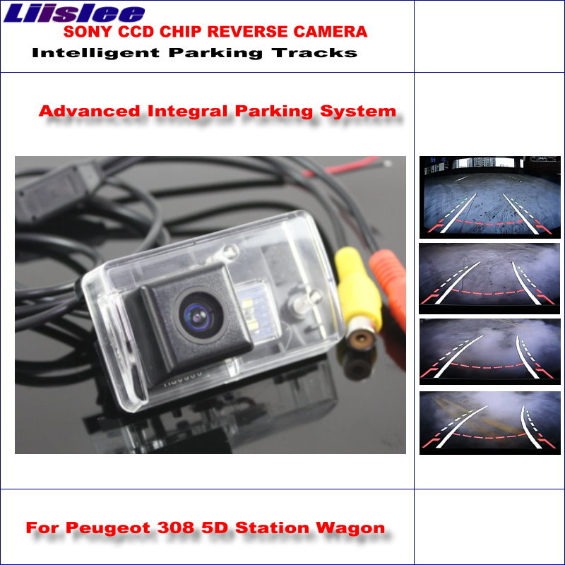 Liislee Intelligent Parking Tracks Rear Camera For Peugeot 308 5D Station Wagon Backup Reverse / NTSC RCA AUX HD SONY CCD smart tracks chip camera for chevrolet lanos sens chance hd ccd intelligent dynamic parking car rear view camera