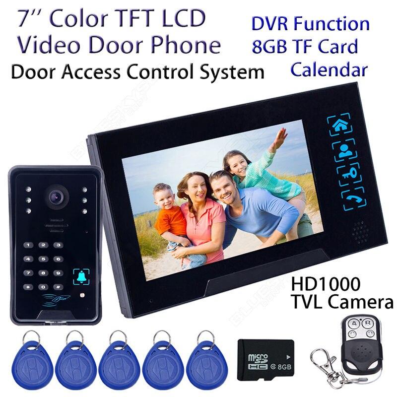Free shipping 7 WD02SRR11 Wired Doorbell HD font b Camera b font Monitor Intercom DVR 8GB