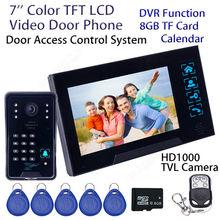 """Envío libre! 7 """"WD02SRR11 Wired Intercom Timbre HD Monitor de la Cámara DVR 8 GB Tarjeta de IDENTIFICACIÓN de la Puerta del Teléfono del Hogar seguridad"""