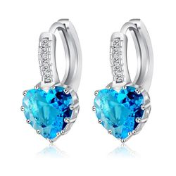 Giemi Cute Colorful Heart Real Pure 925 Sterling Silver Jewelry Cubic Zirconia Stone Earrings Fashion Women Favourites Earring