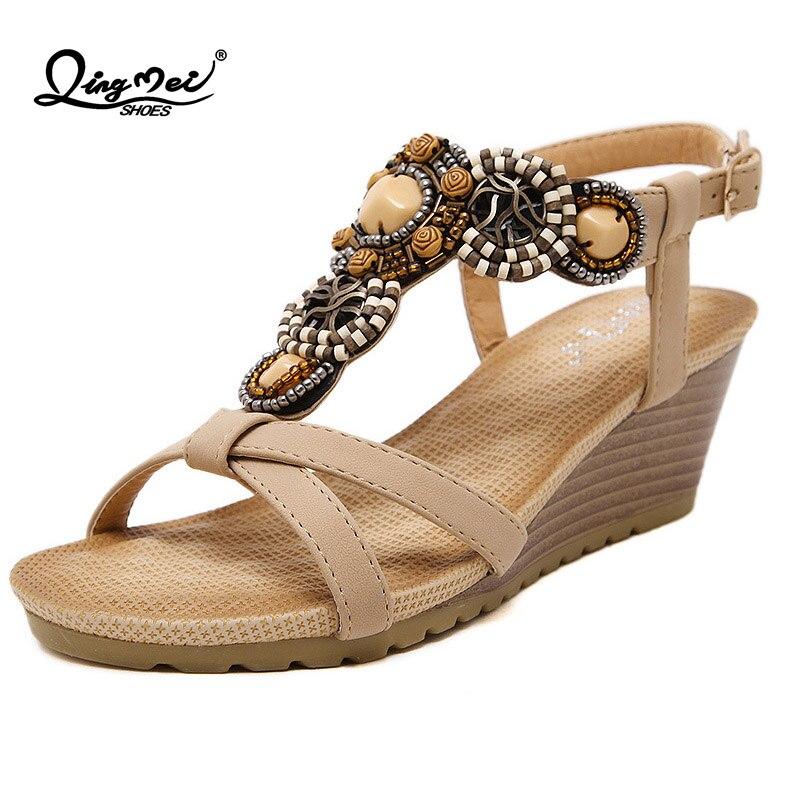 0b2b9a0b60c8b7 QINGMEI Open toe Women s Ladies Crystal String Beach Sandals Women Wedges  Sandals Shoes Lady Bohemian National Backle Shoes