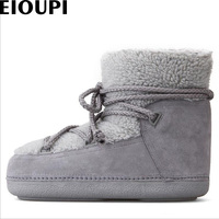 EIOUPI Warm Winter Snow Boots Real Nubuck Suede Leather Women Casual Fashion Thread Sewing Ankle Flat