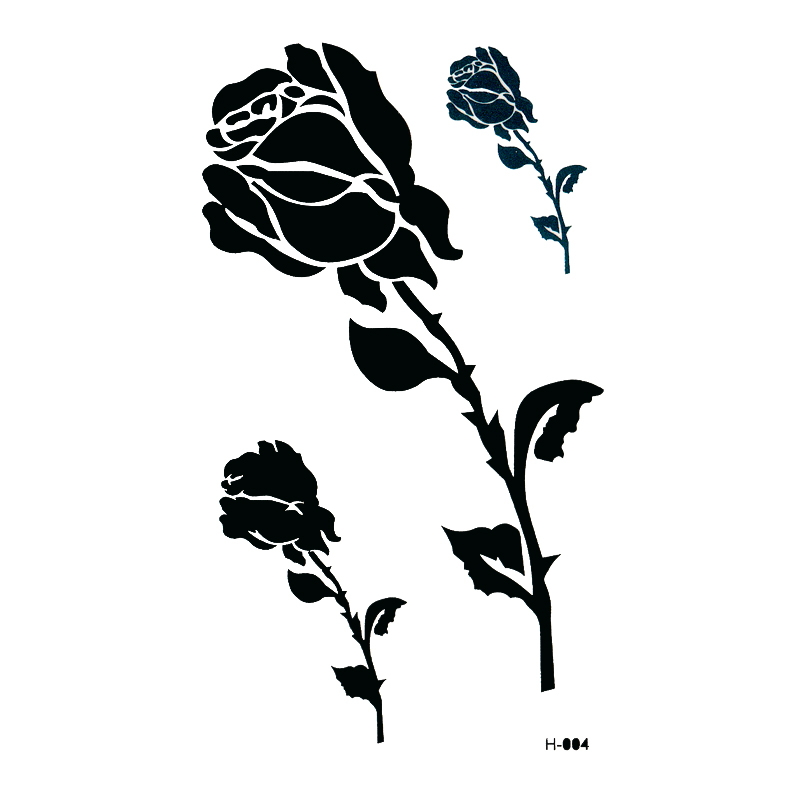 Black Rose Waterproof Temporary Tattoos Sticker Beauty Flower The Flash Tatuagem Fake Tattoo Temporary Tatoo Kids