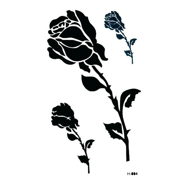 Black Rose Waterproof Temporary Tattoos Sticker Beauty Flower The Flash Tatuagem Fake Tattoo Temporary tatoo kids