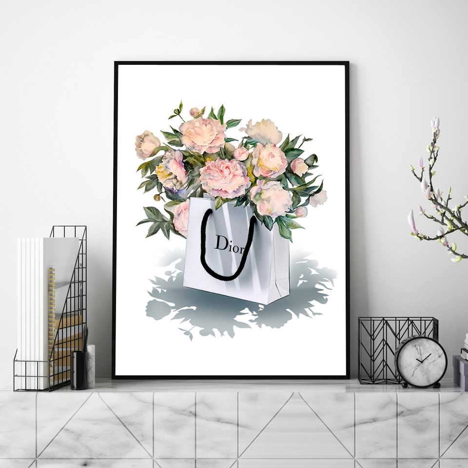 d94980ce80 ... Modern Fashion Flower Bag Canvas Painting Vogue Book Posters and Prints  Nordic Wall Art Pictures for ...