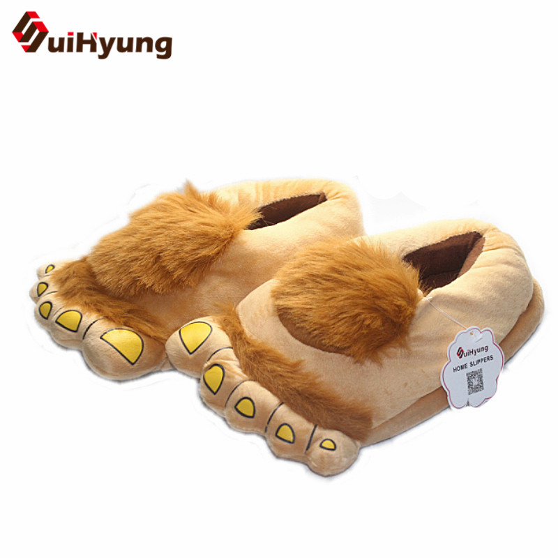 New Thermal Winter Cotton Slippers Women Men Plush Soft Cotton Padded Shoes Warm Hobbit Big Feet Home Floor No Slip EVA slippers soft plush big feet pattern novelty slippers