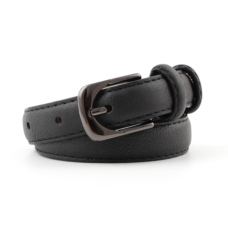 Badinka 2018 New Ladies White Black Red Thin Skinny Waist Belt Womens Vintage Buckle Faux Leather Belts for Women Jeans Pants