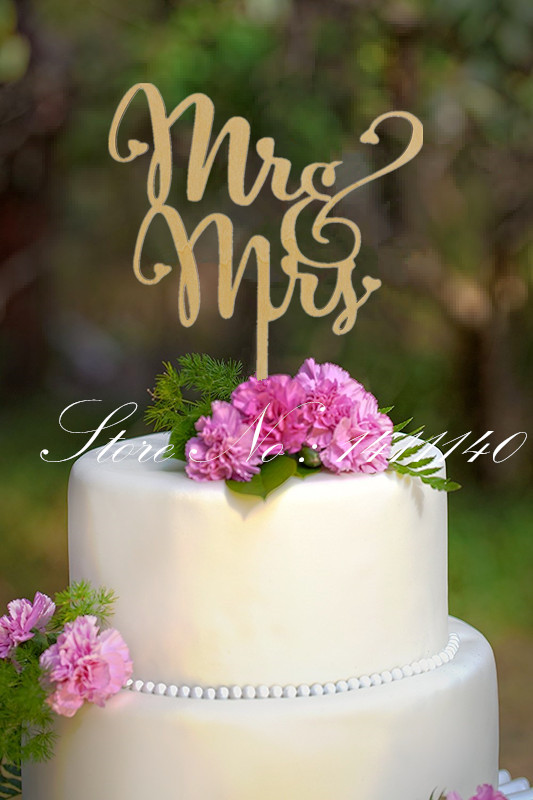 Mr And Mrs Cake Topper Laser Cut Wood Wedding Cake Topper Gold