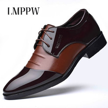 Cheap Men Business Dress Shoes Large Code Casual Leather Flats Breahthable Formal Oxford Pointed Toe Black Brown