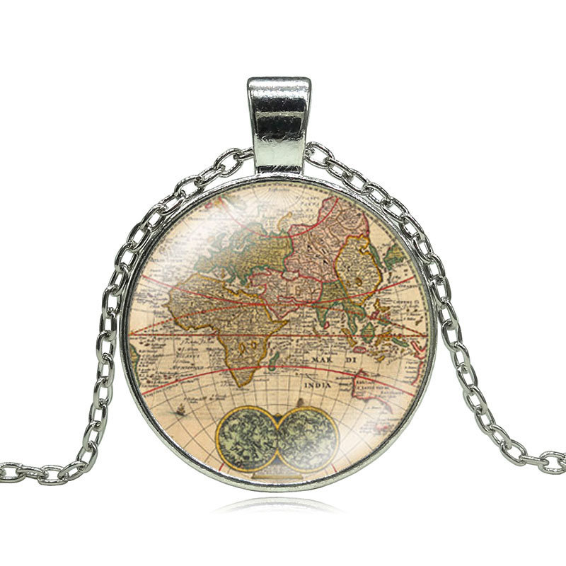 Popular Map World Necklace SilverBuy Cheap Map World Necklace