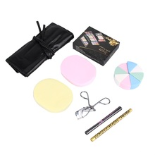 Camouflage Makeup Set Eyeshadow Eyelash Eyebrow Powder Palette 7pcs Brush Eyelash Eyebrow Pencil Powder Puff