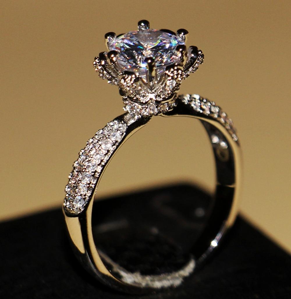 Wieck choucong Mulheres Luxo Jóias de prata Esterlina 925 pedras AAA CZ Festa de Casamento Engagement Pave Anel de Flor Presente Tamanho 5 -11