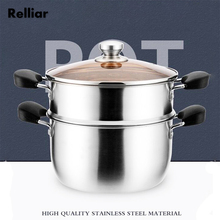 24cm Thicked Stainless Steel Steam Pot Double Bottom Soup  Steamer Heavy Boiler Cooking Pots For Chef Kitchen Tool