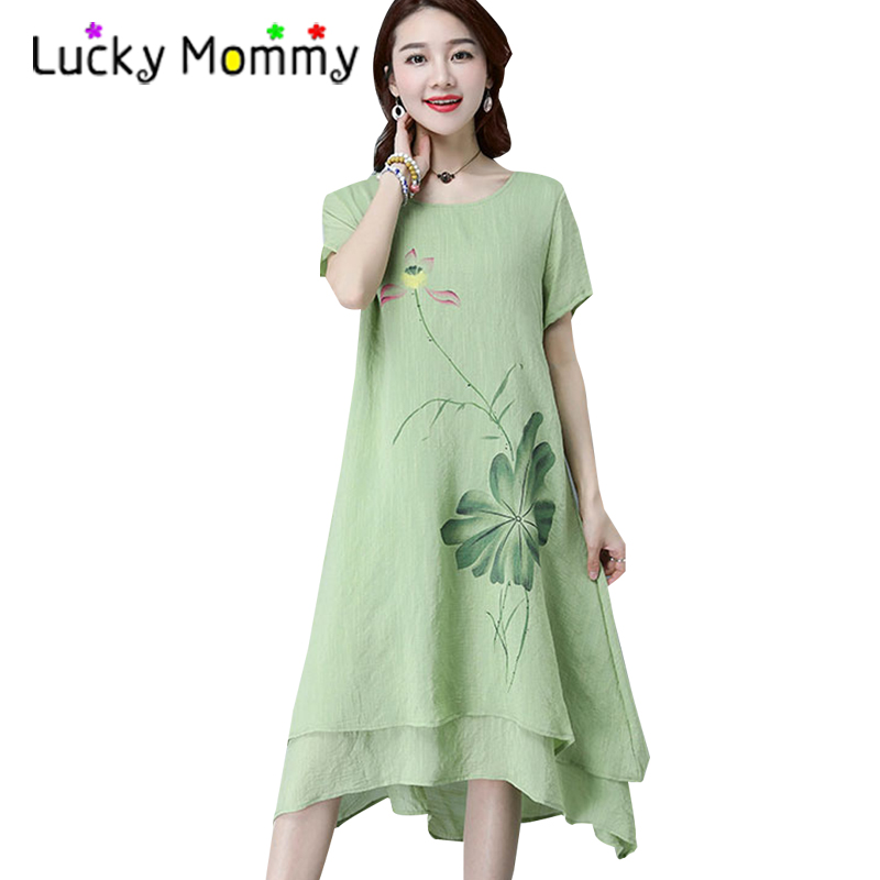 2017 Summer Vintage Floral Maternity Dress for Pregnant Women Casual Cotton Linen Maternity Clothes Retro Pregnancy Clothing
