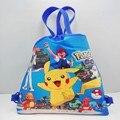 1 pcs Pikachu Puxão mon Mochilas Com Cordão Sacos Do Partido 34*27 CM Mobiliário Escolar Não-Tecido Partido & Sacos de doces Presentes Dos Miúdos