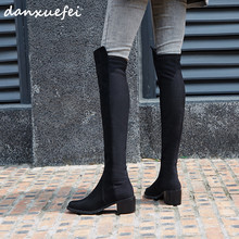 Slim-Shoes Long-Boots Stretch Black Winter Women's Patchwork Over-The-Knee for Suede