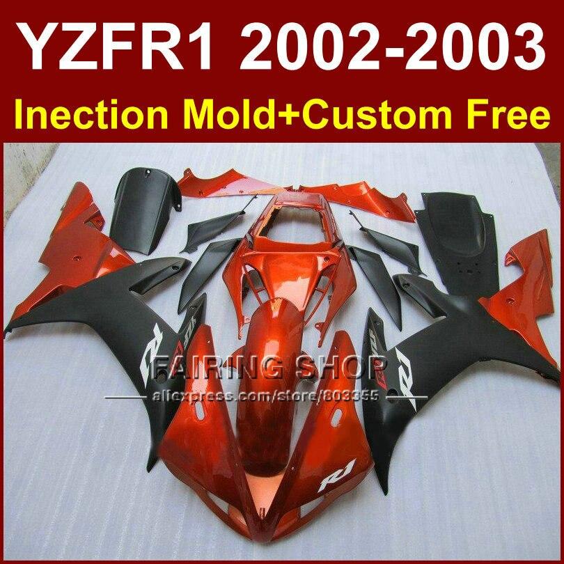 Burnt orange custom fairing for YAMAHA bodywork YZF1000 02 03 YZF R1 2002 2003 yzf r1 body parts Aftermarket +7gifts запчасти для мотоциклов yamaha yzf1000 02 03 r1