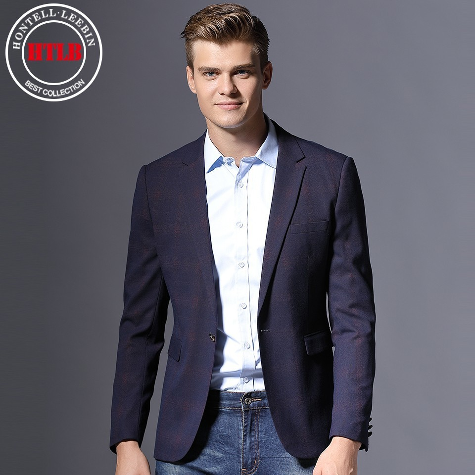 HTLB Men Blazer Suit Jackets Masculin Slim Fit Male Casual