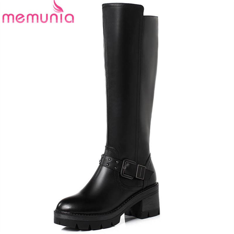 MEMUNIA 2018 newest genuine leather boots women round toe autumn winter boots zipper platform shoes woman mid calf boots female memunia 2018 half boots for women spring autumn mid calf boots fashion elegant pu nubuck leather shoes woman party flock