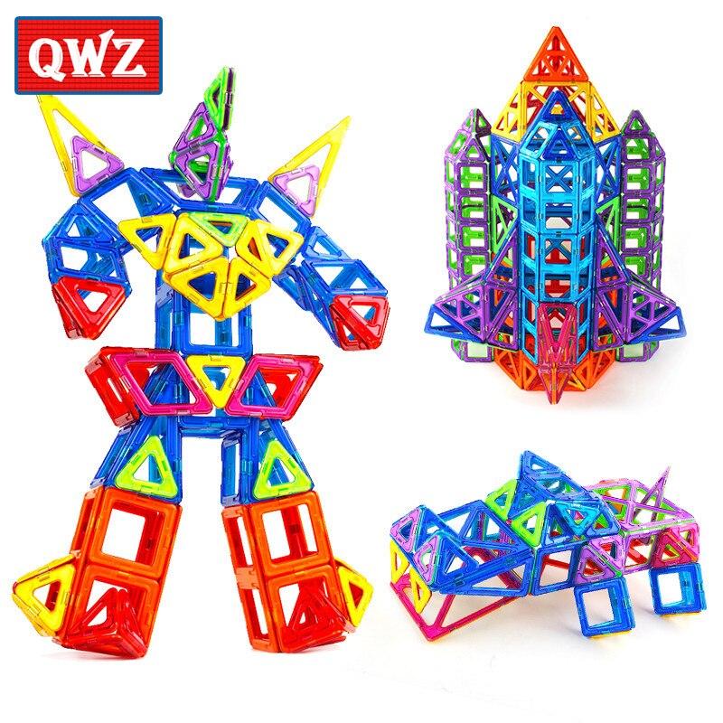 ФОТО qwz new mini 164pcs/set models magnetic designer educational building blocks assemble enlighten bricks kids toys christmas gifts