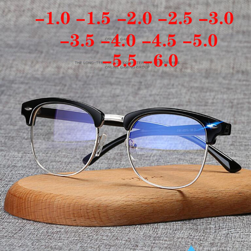 -1-1,5-2-2,5-3-3,5-4-4,5-5-5,5-6 близорукость памяти оптические очки с плоскими стеклами и половинной рамкой готовой Для мужчин Для женщин Для мужчин очк...