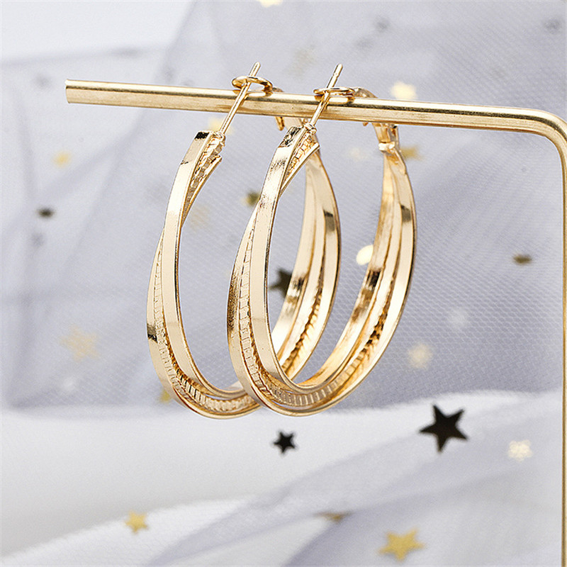 Simple Gold color Big Hoop Earring  1