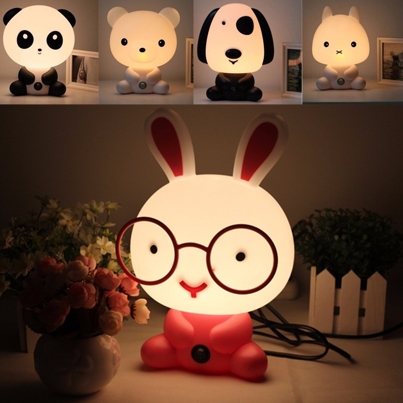 Lovely Cartoon Animal Desk Table Lamp Baby Kids Children Bedroom Night Sleeping Light Best For Gifts AC220V beiaidi 50cm cute rabbit led night light cartoon animal bedroom desk table lamp baby kids children sleeping light best christmas