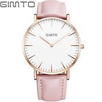 GIMTO Luxury Fashion Women S Watches Quartz Watch Bracelet Wristwatches Leather Band Women Dreaa Watches