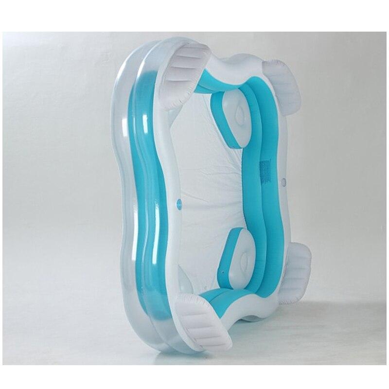 Piscine d'eau gonflable carrée de grande taille de famille avec des sièges dossier utilisation à la maison piscine de terrain de jeu d'interaction Parent-enfant - 3