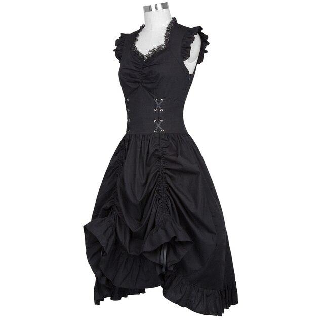 Belle Poque Sleeveless V-Neck 50s Retro Gothic Victorian Women Dress Vintage Ruffles Silver Corset Adjustable Hemline Mid Robe 1