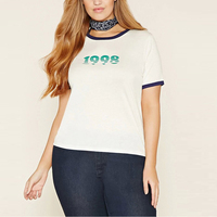 Top 2016 Summer Casual Plus Size Super Large Cotton T Shirts Female 1998 Letter Printed Short