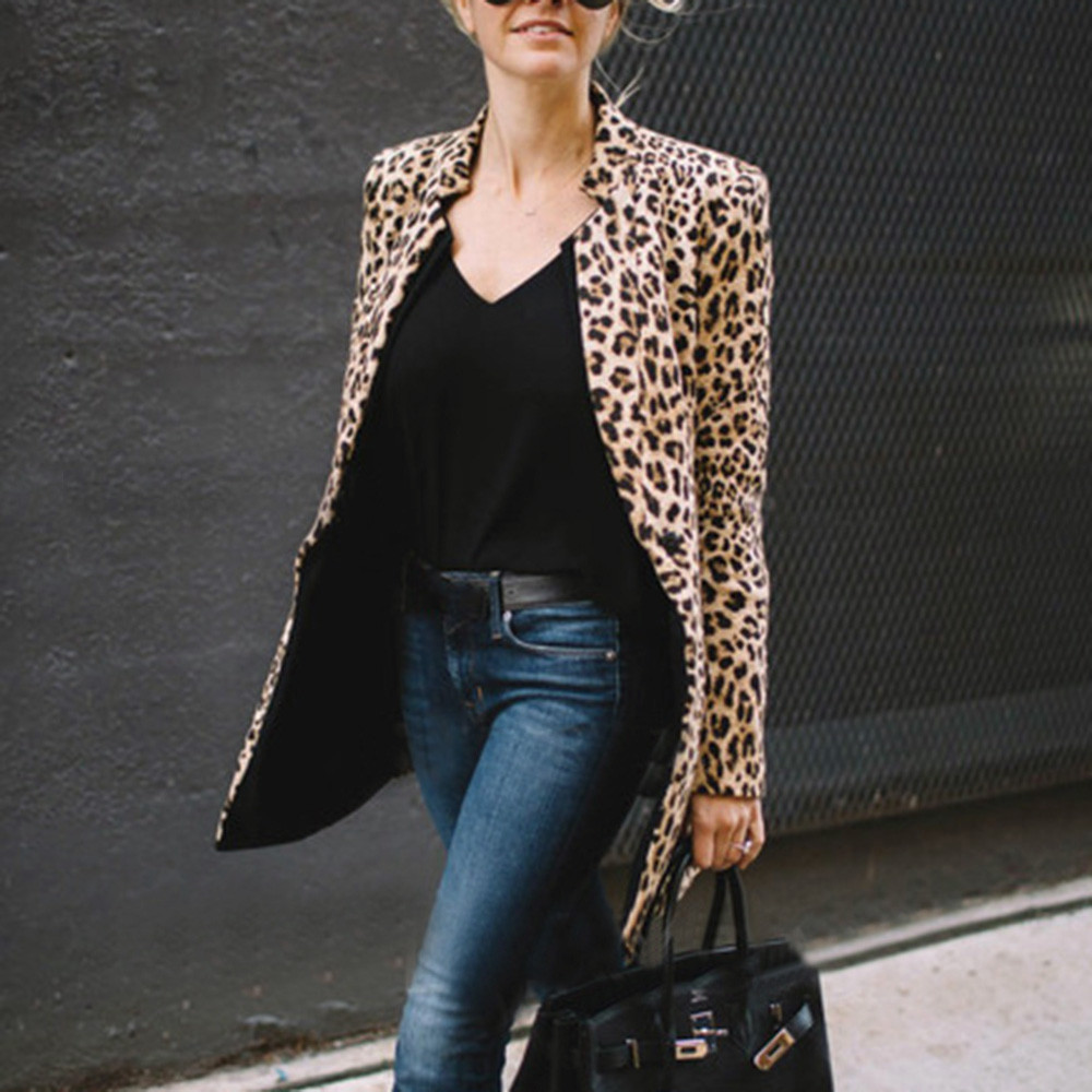 Women Leopard Printed Sexy Winter Warm Wind Coat Cardigan Long Coat Casual streetwear Cardigan  #1019 A#487